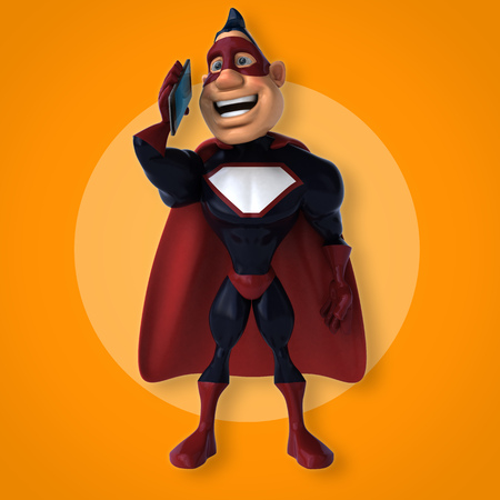 telephone cartoon: Fun superhero - 3D Illustration Stock Photo