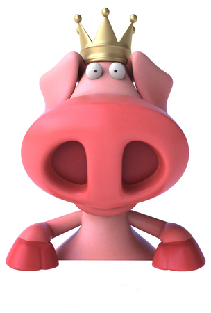 Fun pig with crown - 3D Illustration