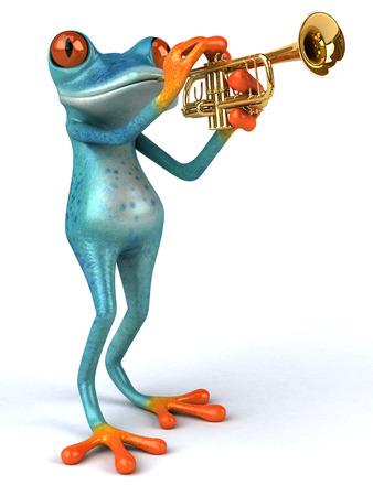 Fun frog - 3D Illustration Stock Illustration - 89345478
