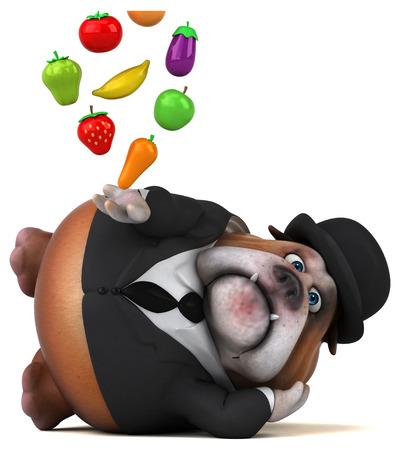 sad businessman: Fun bulldog - 3D Illustration