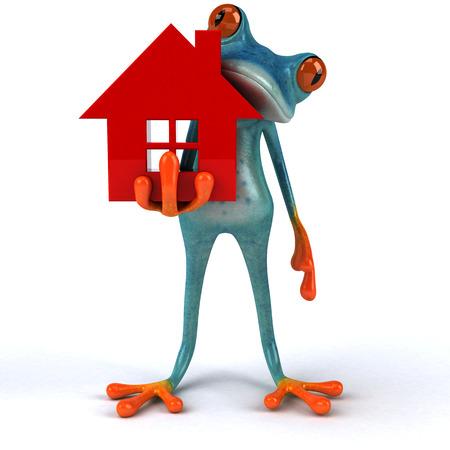 Fun frog - 3D Illustration Stock Illustration - 90517754