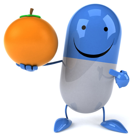3D pill character holding and pointing to an orange