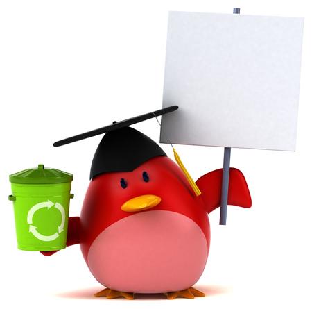 Red bird - 3D Illustration Stock Photo