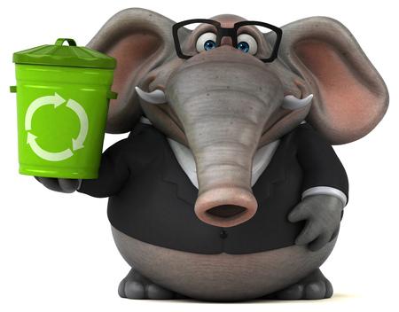 Fun elephant - 3D Illustration Stock Photo