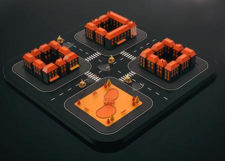 Sel-driving cars - 3D Illustration