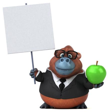 Fun Orang utan - 3D Illustration Stock Photo