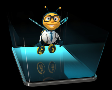 Bee on a phone - 3D Illustration Stock Photo