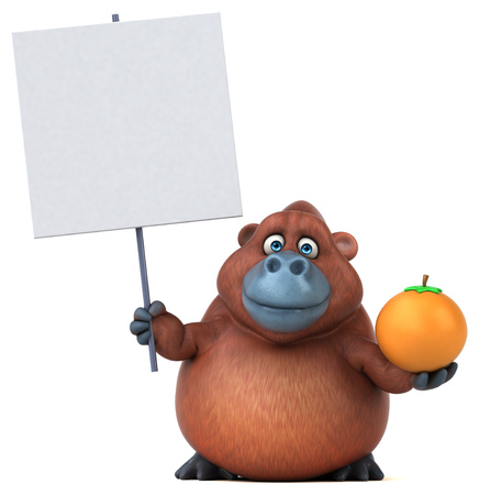 Fun Orang utan - 3D Illustration Stock Illustration - 95094379
