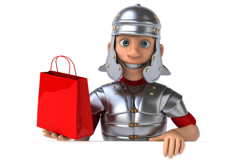 Cartoon Roman army holding a paperbag