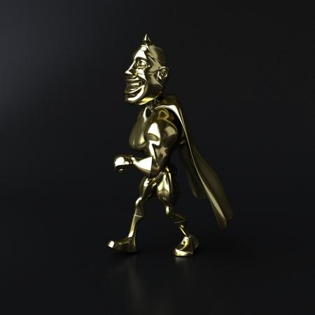 Golden superhero - 3D illustration Stock Photo
