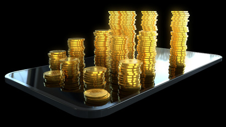 Phone and money - 3D Illustration Stock Photo