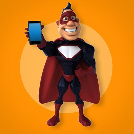 Fun superhero - 3D Illustration 版權商用圖片
