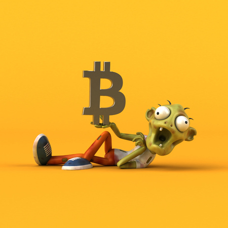 Zombie and bitcoin - 3D Illustration Stockfoto - 103856004