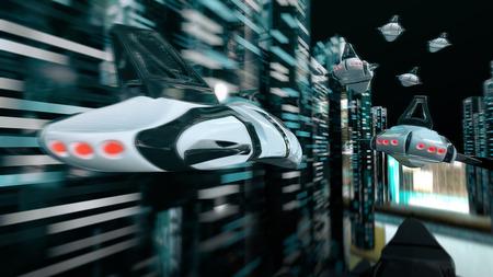 Futuristic race - 3D Animation Stock Photo