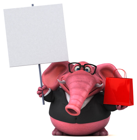 Pink elephant - 3D Illustration Фото со стока - 103947994