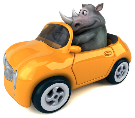 Fun rhinoceros - 3D Illustration Фото со стока - 104027856