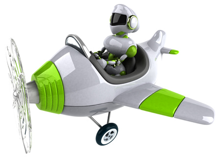 Green robot - 3D Illustration Standard-Bild - 104050437