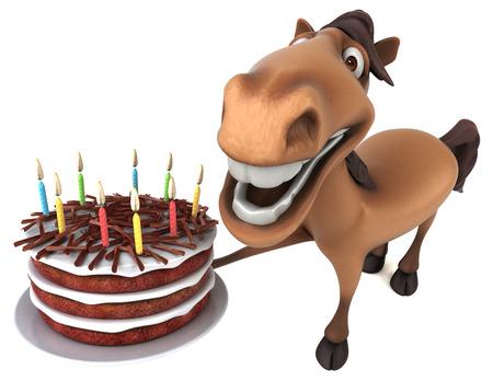 Fun horse - 3D Illustration Reklamní fotografie - 104277309