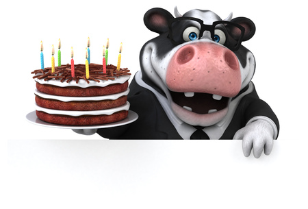 Fun cow - 3D Illustration Stock Illustration - 104028611
