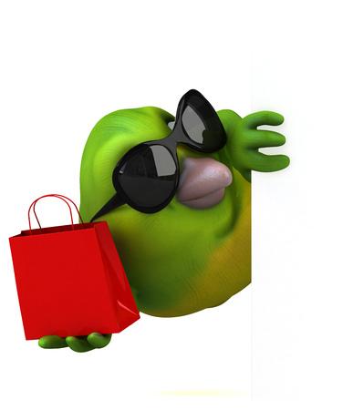 Fun green bird - 3D Illustration Stock Photo