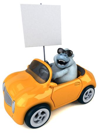 Fun white gorilla - 3D Illustration Stock Illustration - 104050989