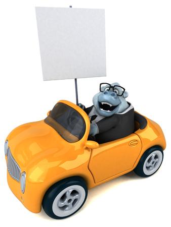 Fun white gorilla - 3D Illustration Stock Photo