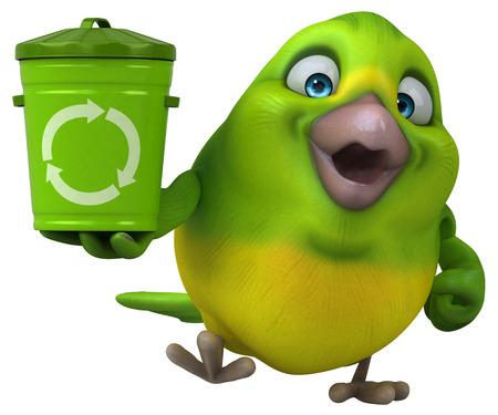 Fun green bird - 3D Illustration Banque d'images - 104305356