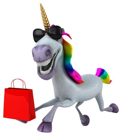 Fun unicorn - 3D Illustration Stock Photo