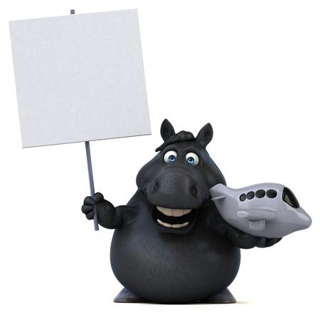 Fun horse - 3D Illustration Stock Photo