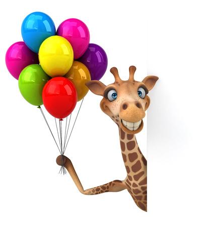 Fun giraffe - 3D Illustration