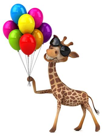 Fun giraffe - 3D Illustration Stock Illustration - 103843476