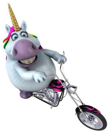 Fun unicorn - 3D Illustration 스톡 콘텐츠