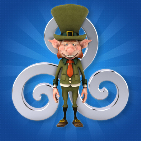 Fun leprechaun - 3D Illustration 写真素材 - 106292077