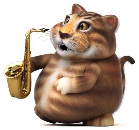 Fun cat - 3D Illustration Banque d'images