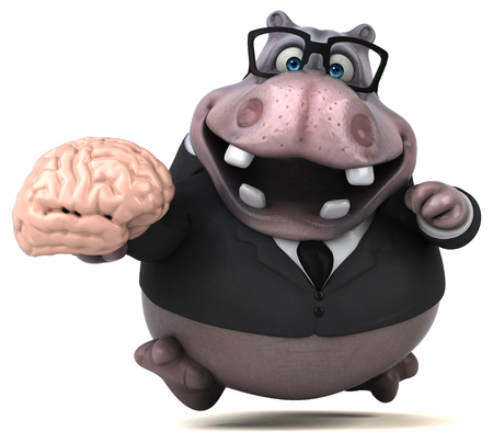 Fun hippo - 3D Illustration Stock fotó