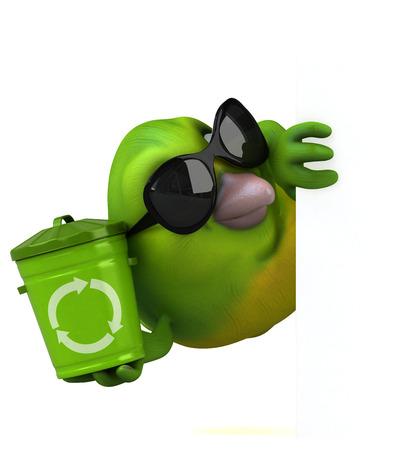 Fun green bird - 3D Illustration Banque d'images - 109131860