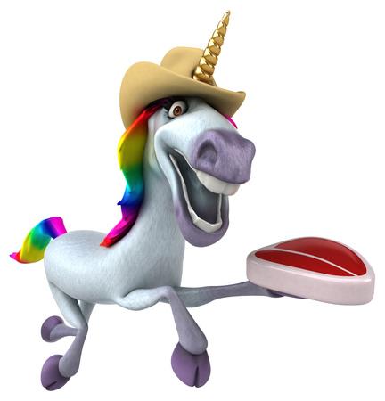 Fun unicorn - 3D Illustration Imagens
