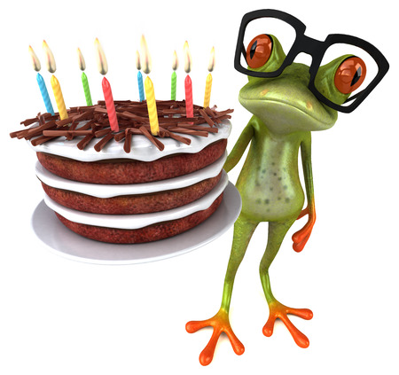 Fun frog with a birthday cake - 3D Illustration Stockfoto