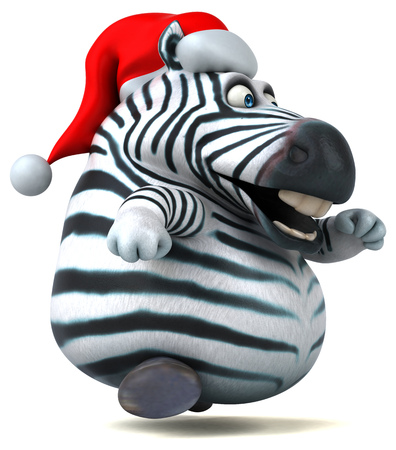 Fun zebra - 3D Illustration Stock Photo