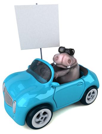 Fun hippo - 3D Illustration Stock Photo