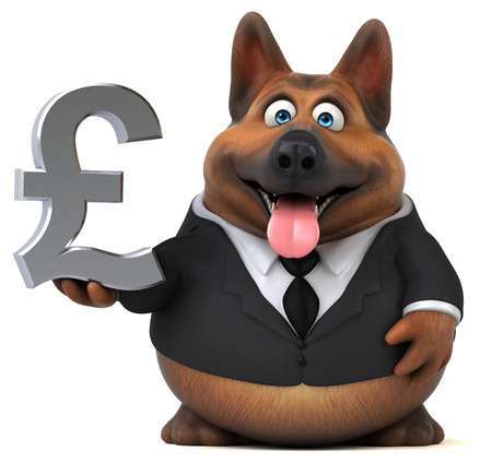 Cartoon dog character in suit holding Pound currency symbol