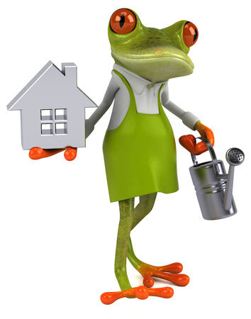 Fun frog gardener - 3D Illustration 스톡 콘텐츠