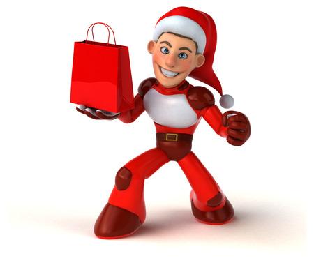 Fun Super Santa Claus - 3D Illustration Stock Illustration - 111574594