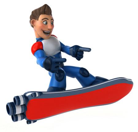 Fun modern superhero flying - 3D Illustration