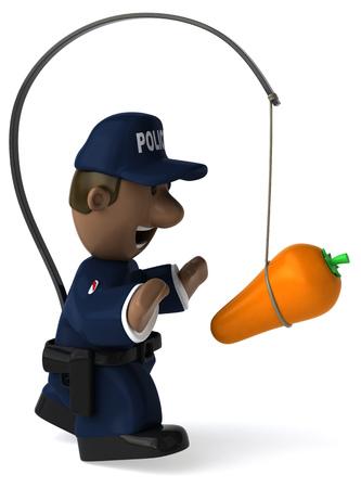 Fun policeman - 3D Illustration