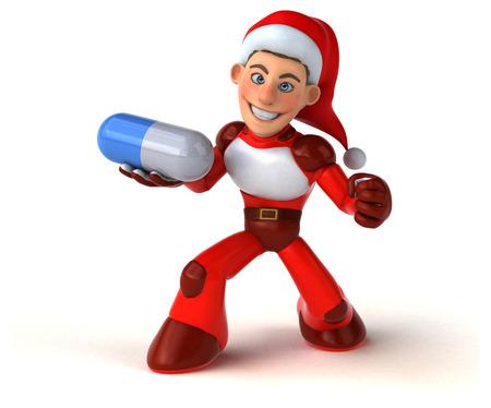 Fun Super Santa Claus - 3D Illustration