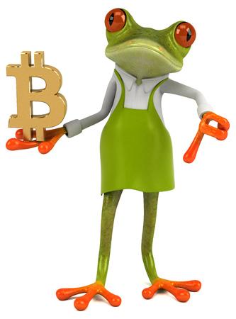 Fun frog gardener - 3D Illustration Banco de Imagens