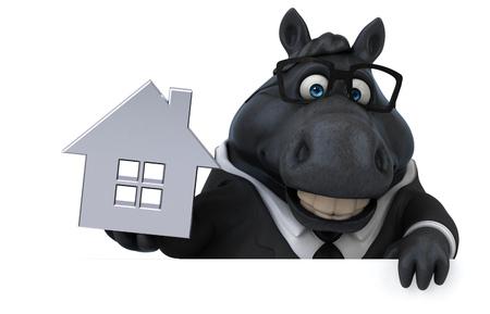 Fun horse - 3D Illustration Reklamní fotografie - 113029811