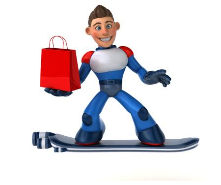 Super modern superhero - 3D Illustration Stock Illustration - 113785413