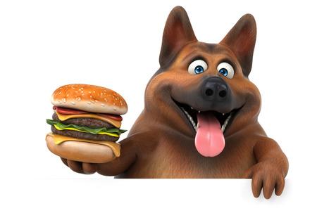 Fun german shepherd dog - 3D Illustration Stock Photo